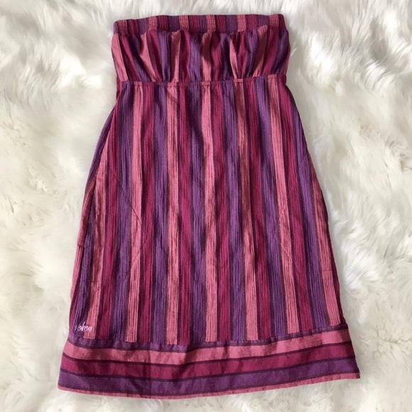 Volcom Dresses Womens Strapless Pink Purple Striped Dress Poshmark